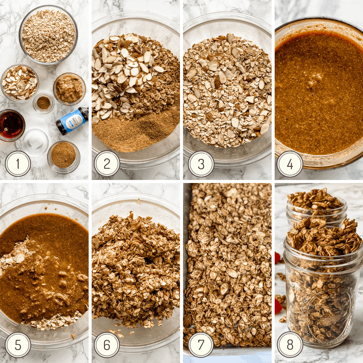 step by step collage for making almond butter granola