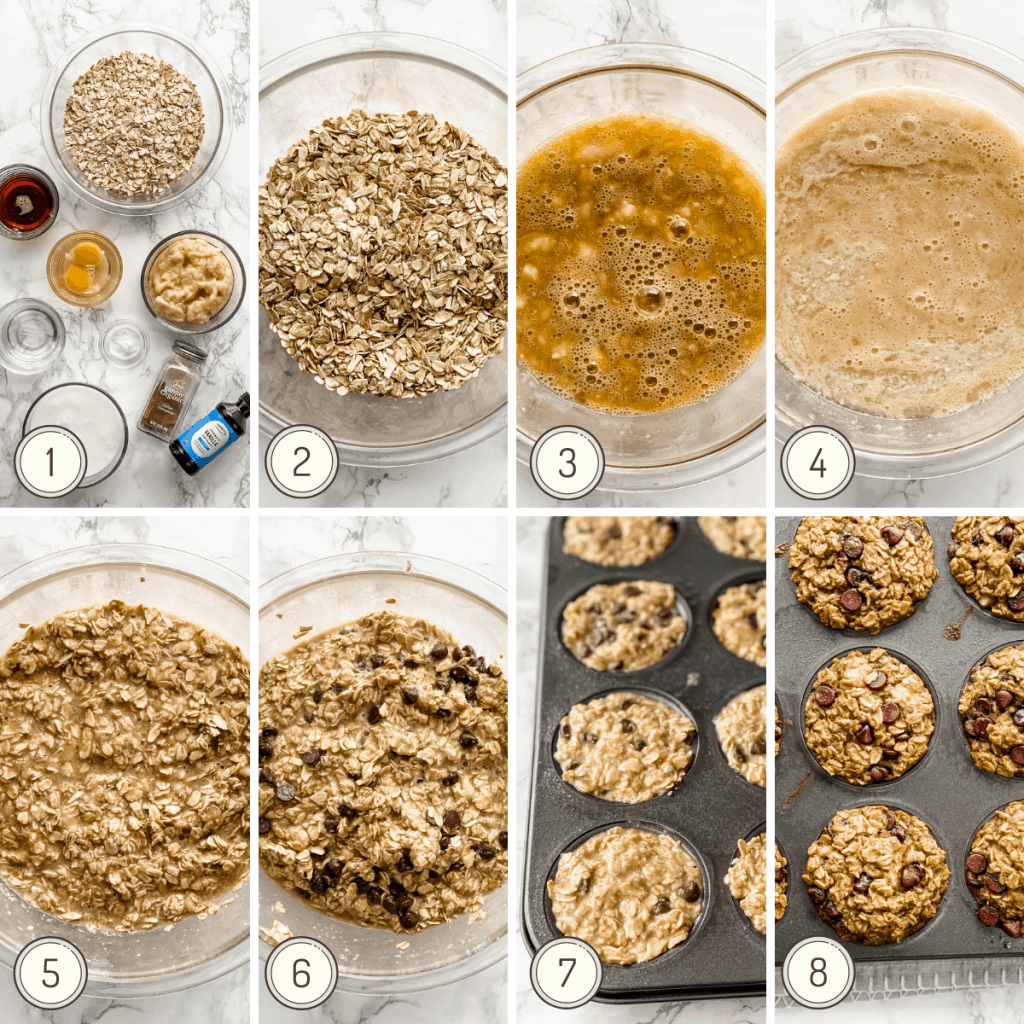 step by step picture collage how to make banana baked oatmeal