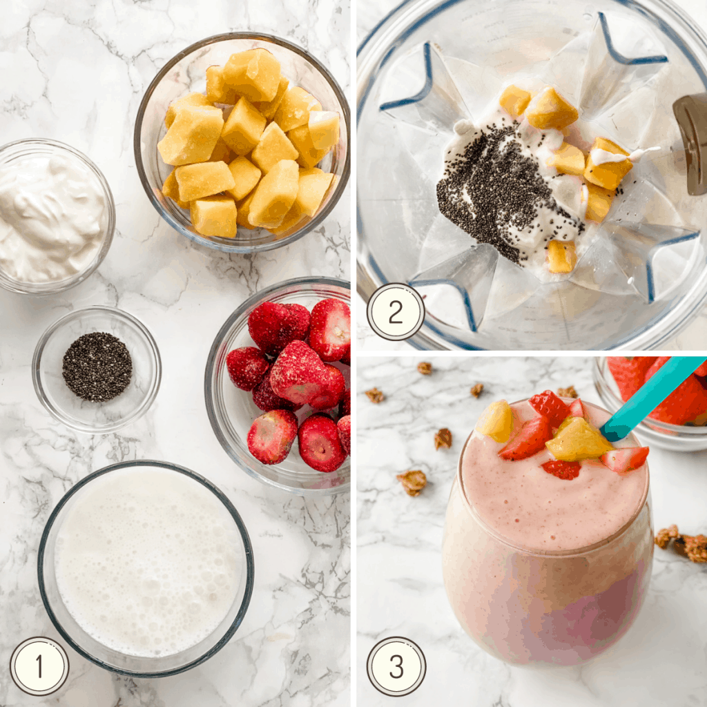 step by step collage for making a strawberry mango smoothie