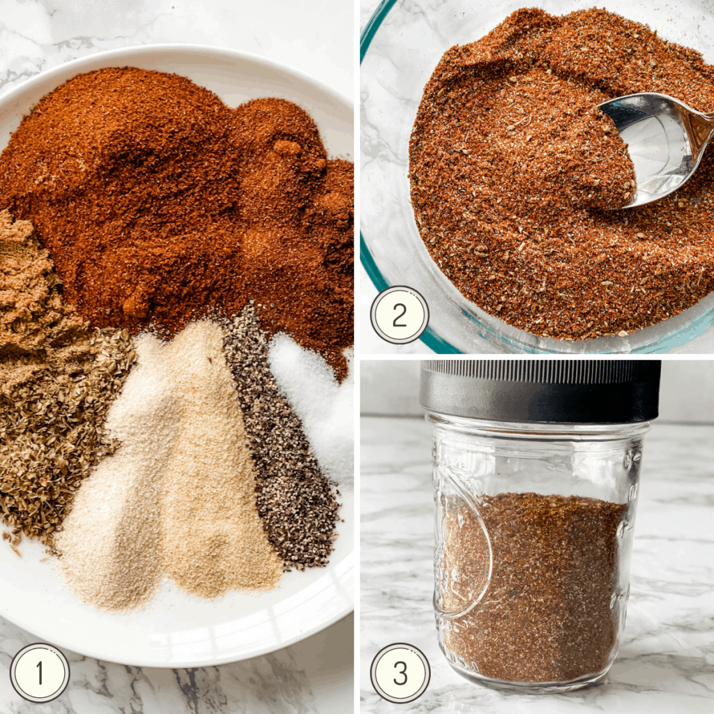 step by step instruction on how to make homemade taco seasoning