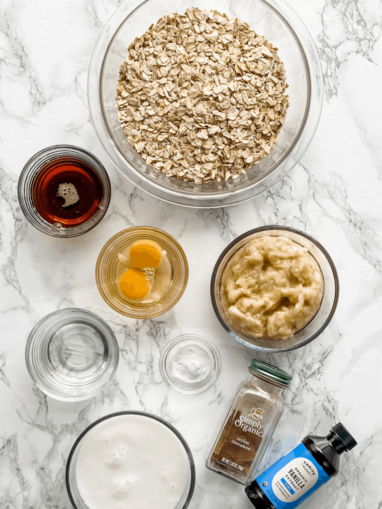 ingredients for banana baked oatmeal cups