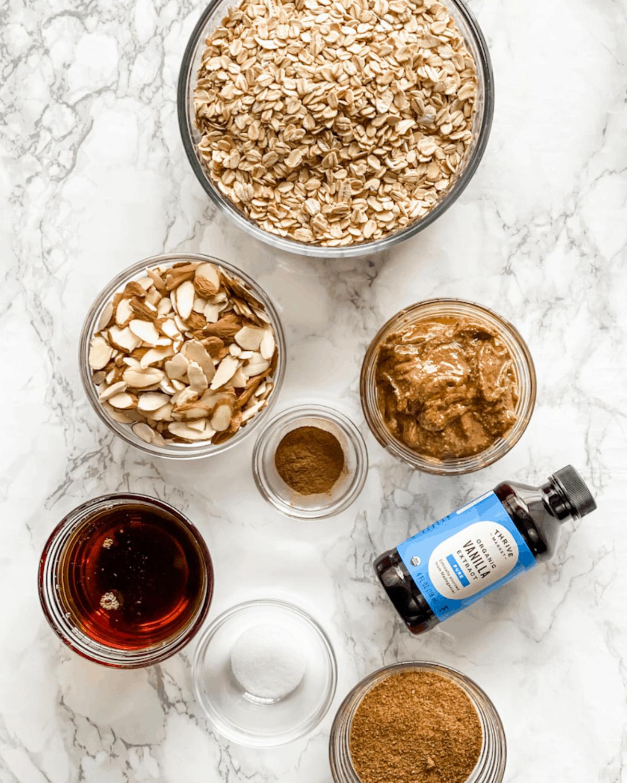 ingredients to make almond butter granola.
