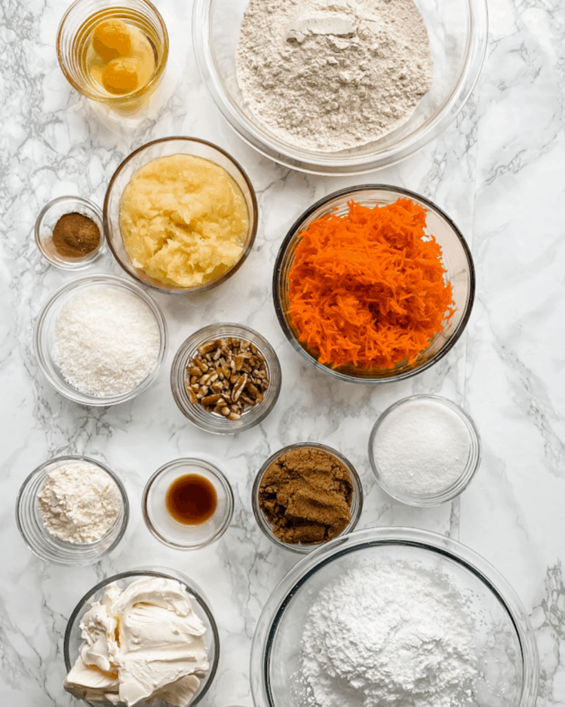 ingredients for a healthy carrot cake