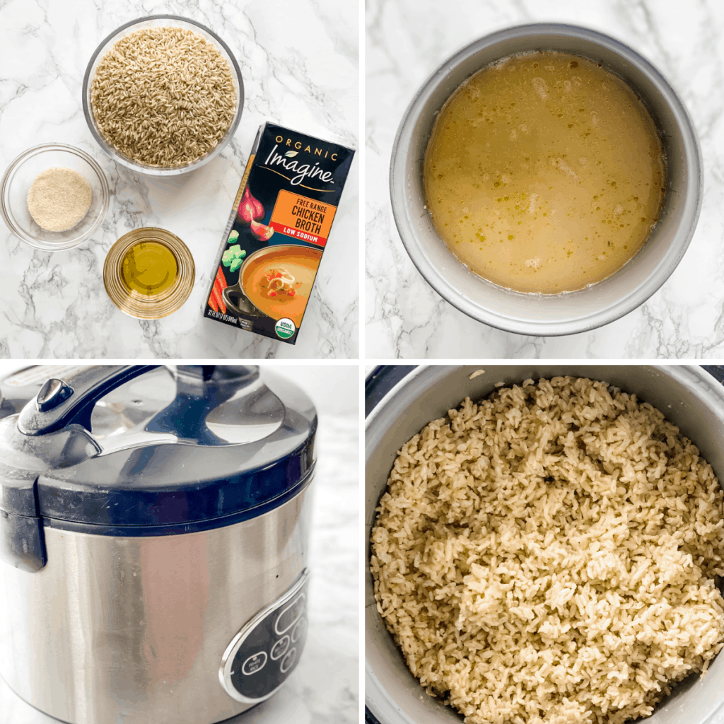 step by step collage for making brown rice in a rice cooker