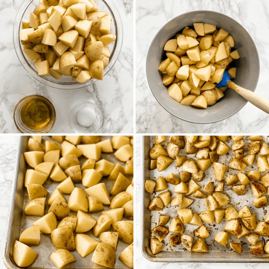 step by step collage for cooking the perfect roasted potatoes