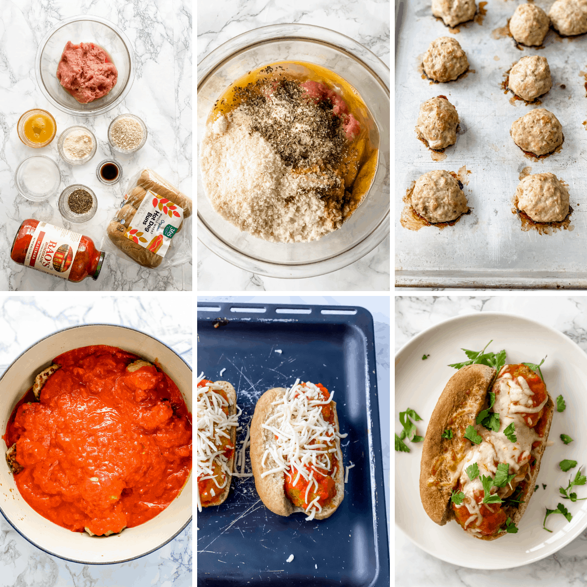 step by step collage showing how to make turkey meatball subs