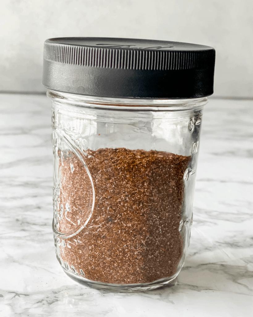 taco seasoning stored in a mason jar