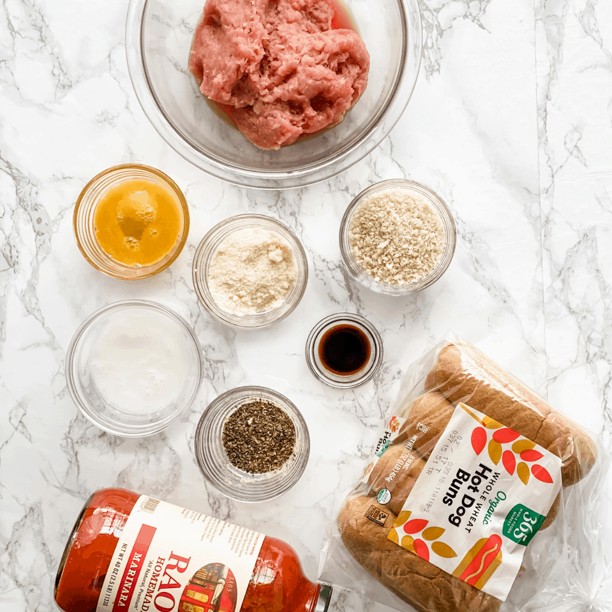 ingredients for turkey meatball subs.