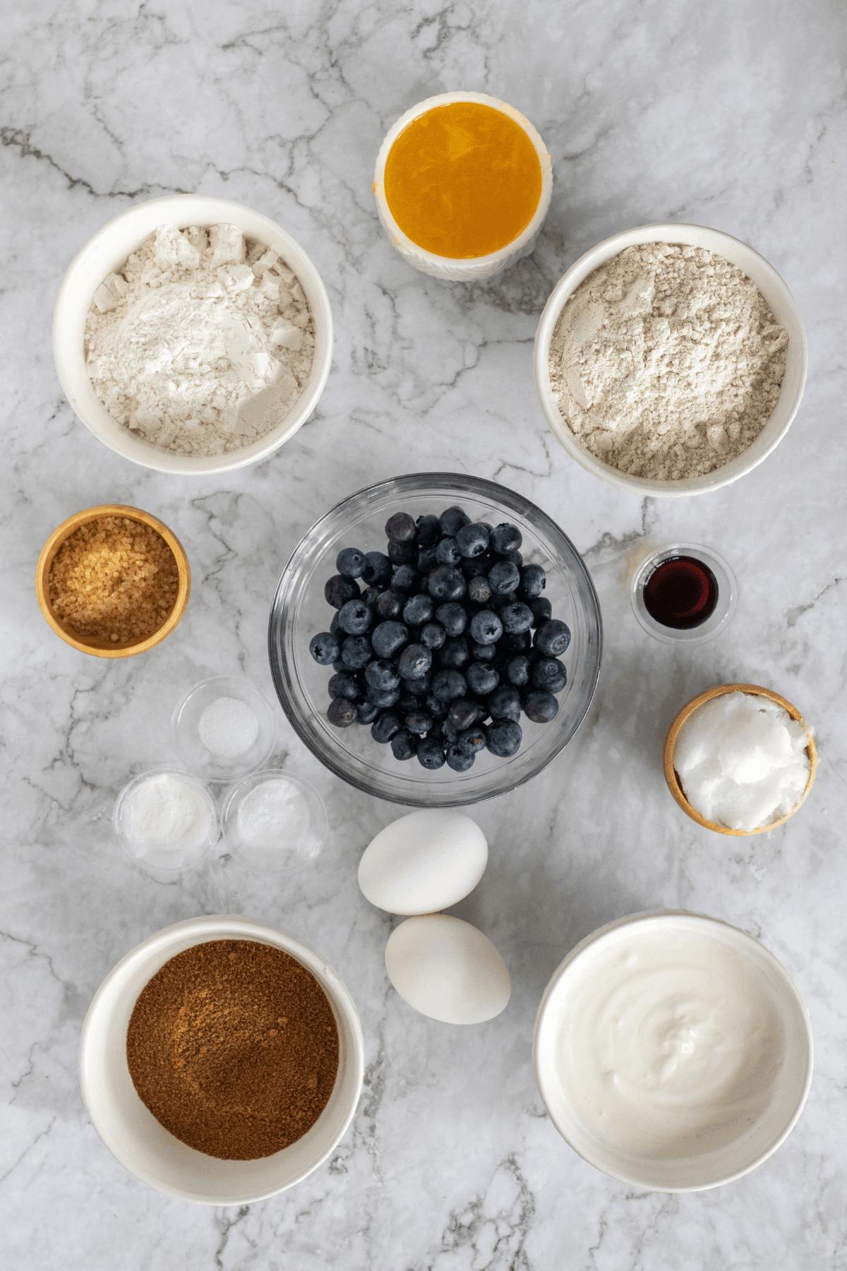 ingredients for make homemade blueberry Greek yogurt muffins from scratch.