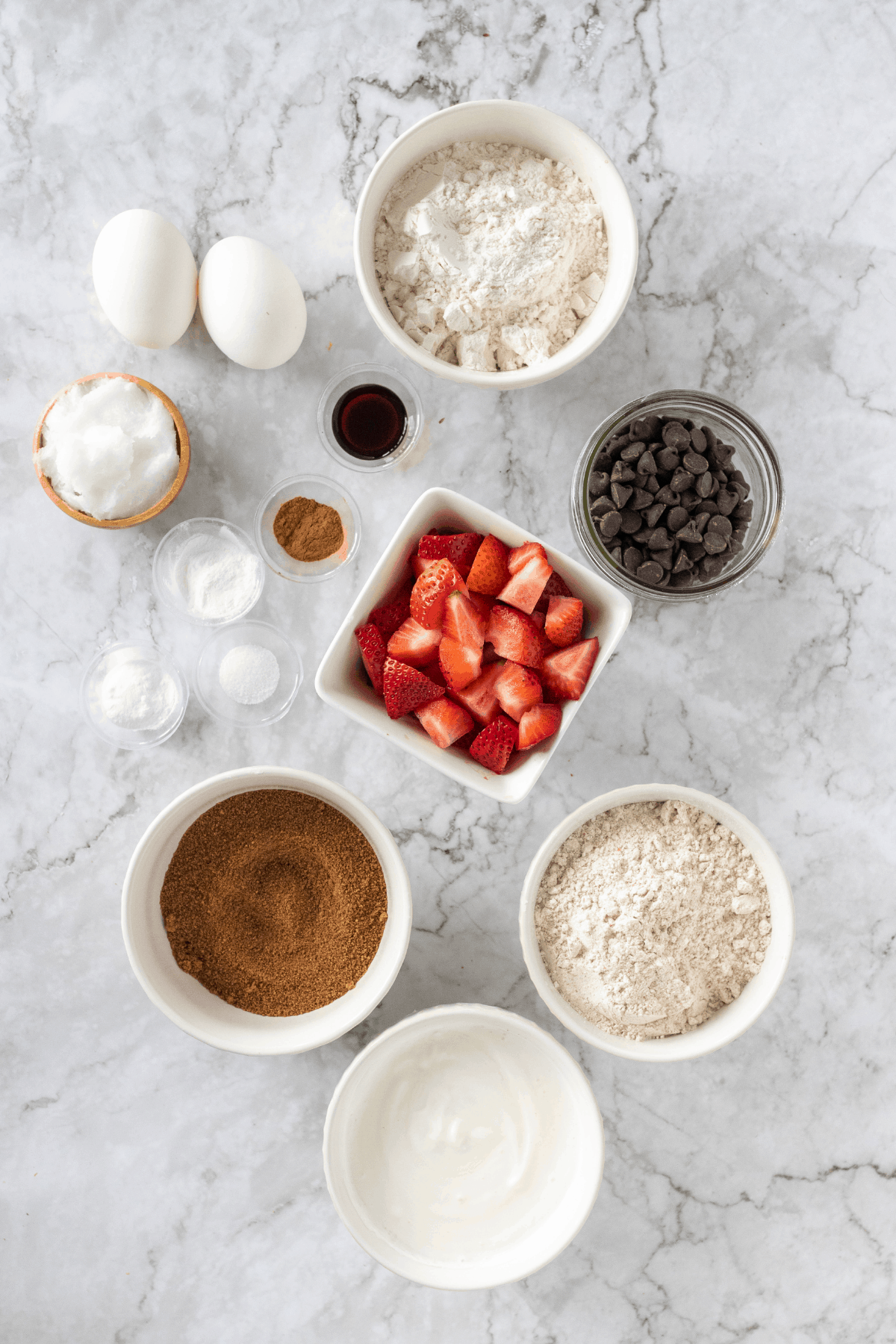 ingredients to make strawberry muffins with chocolate chips