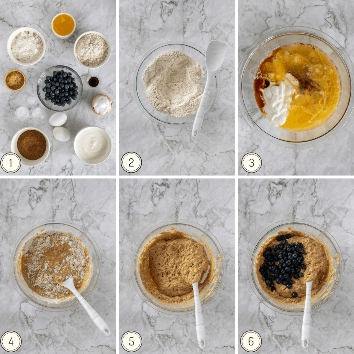 step by step collage to make blueberry greek muffins