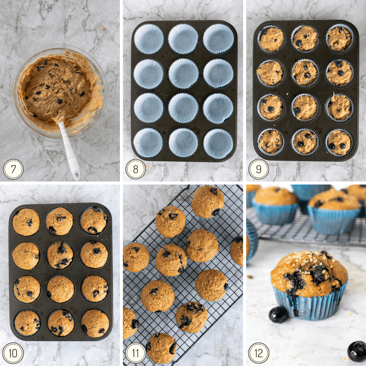 the last step by step collage to make blueberry muffins