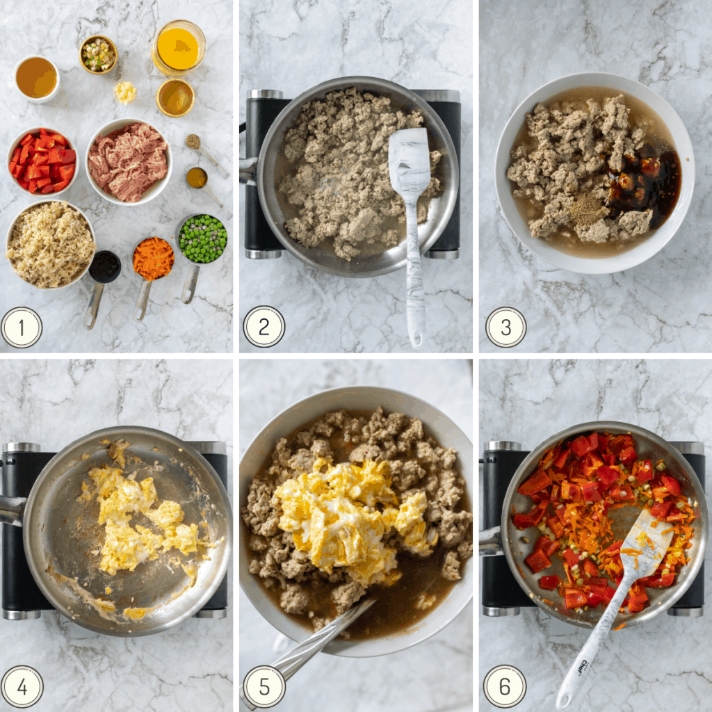 step by step collage showing how to make fried rice with ground turkey.
