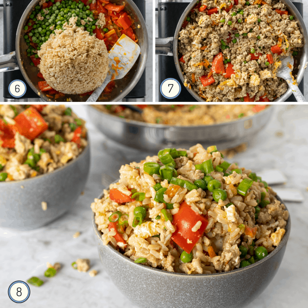 the last steps for making turkey fried rice.