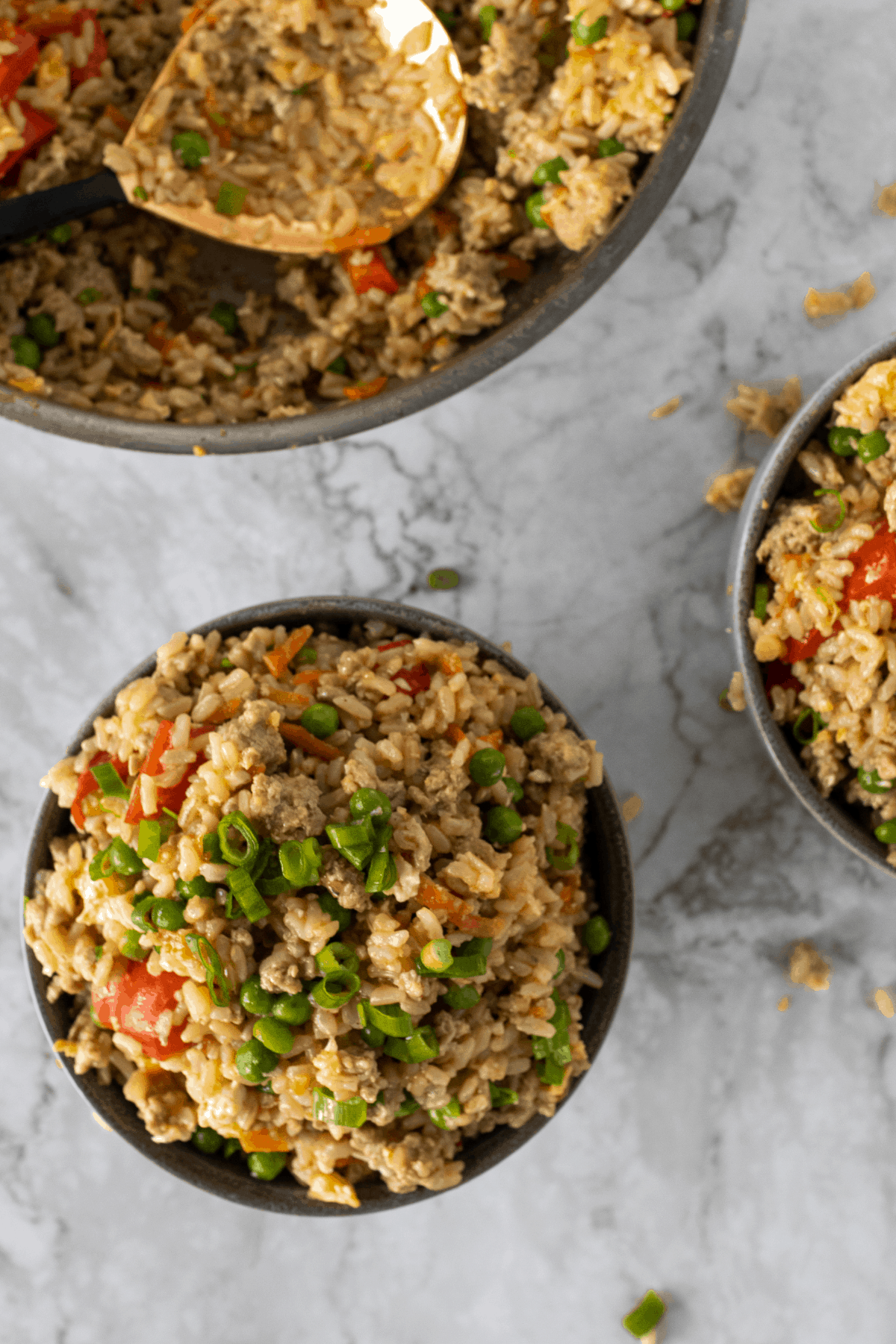 a picture of turkey fried rice from the top.