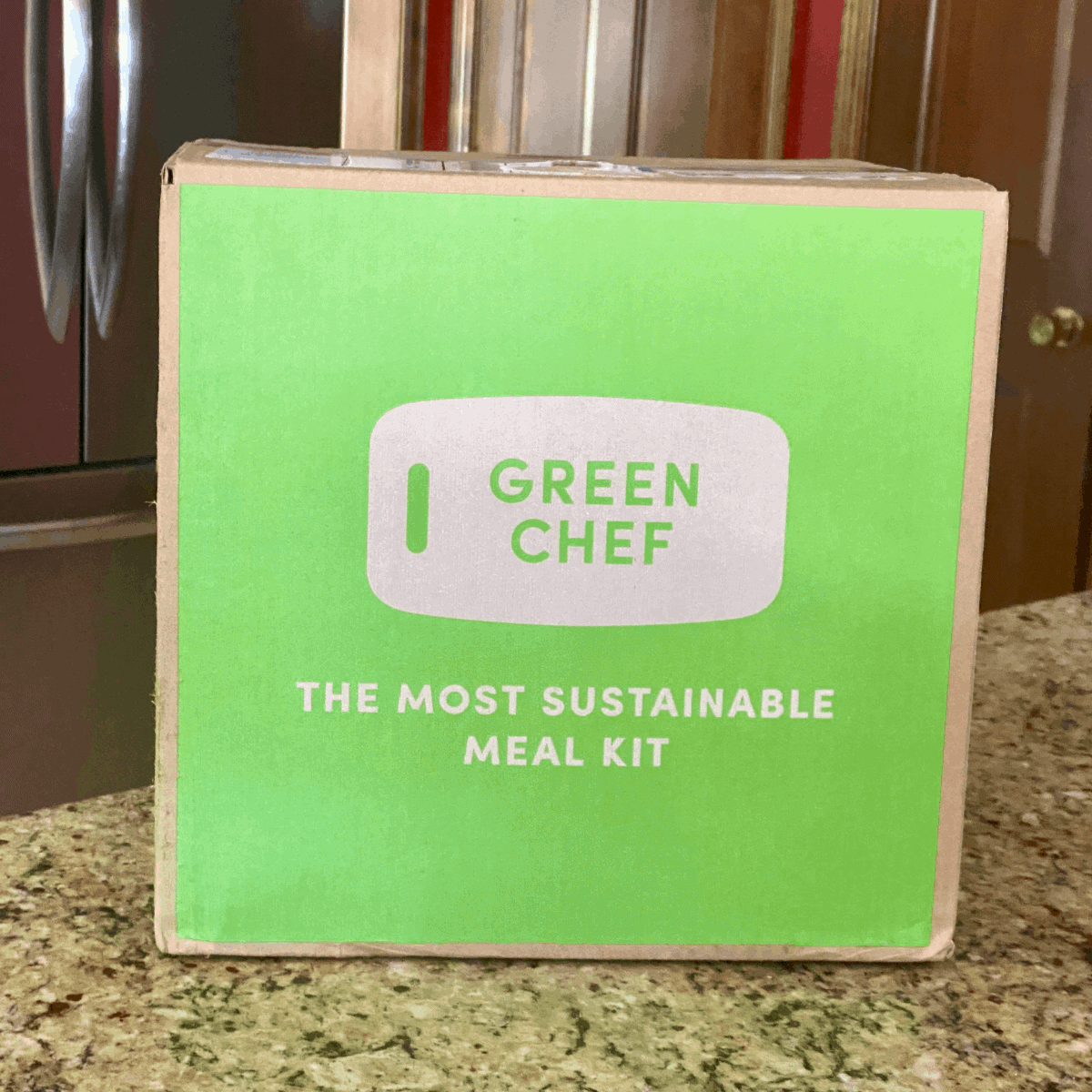 Green chef review. A green chef box on the counter.