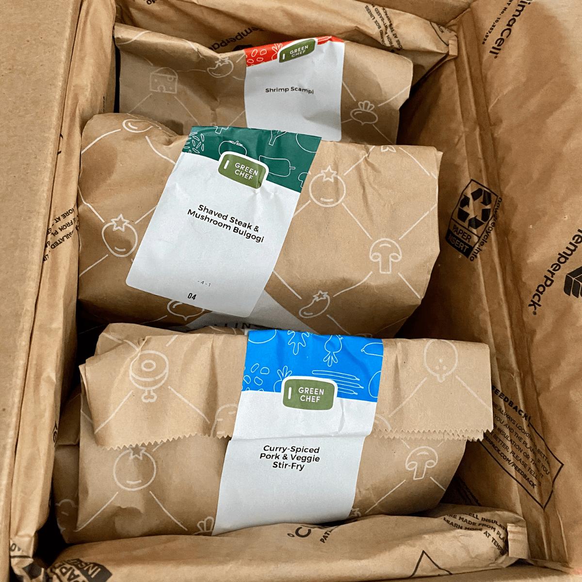 green chef recipe bags in the box