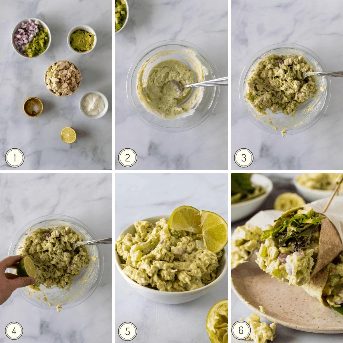 step by step collage showing how to make Greek yogurt chicken salad.