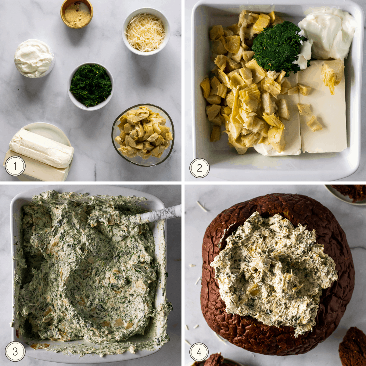 step by step on making a healthy spinach artichoke dip