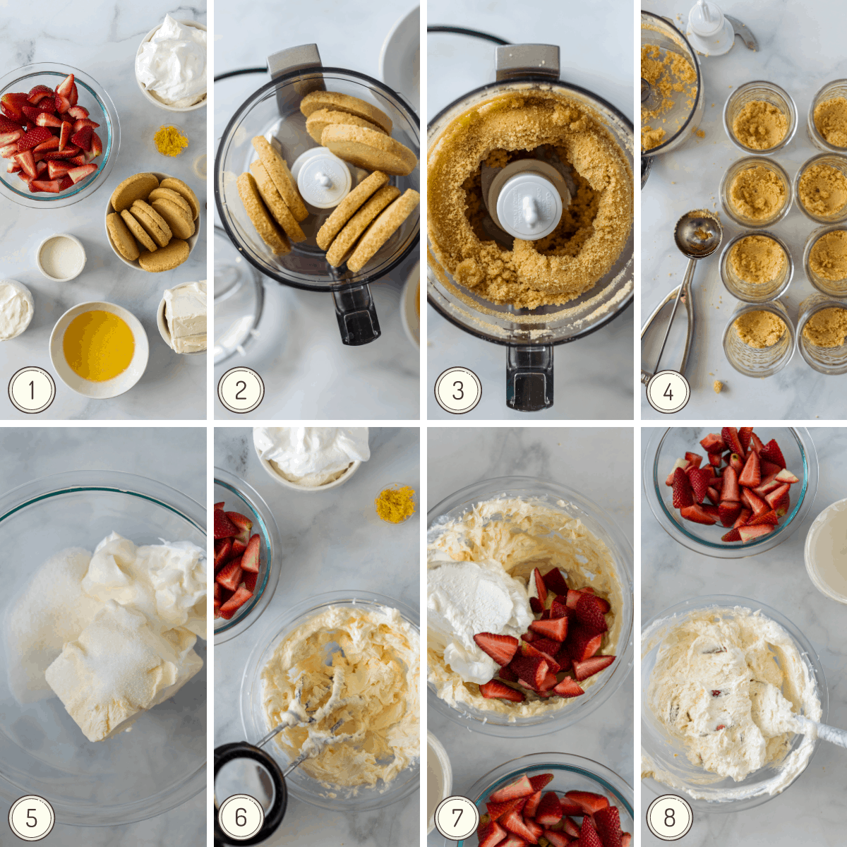 step by step collage showing how to make no-bake strawberry cheesecake layered into mason jars.