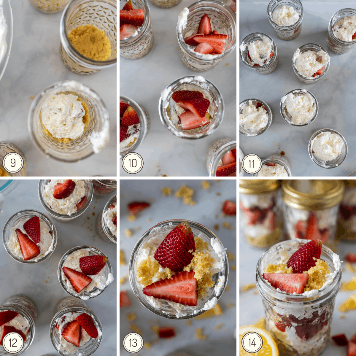 a second collage showing how to finish these layered no-bake strawberry cheesecake jars.