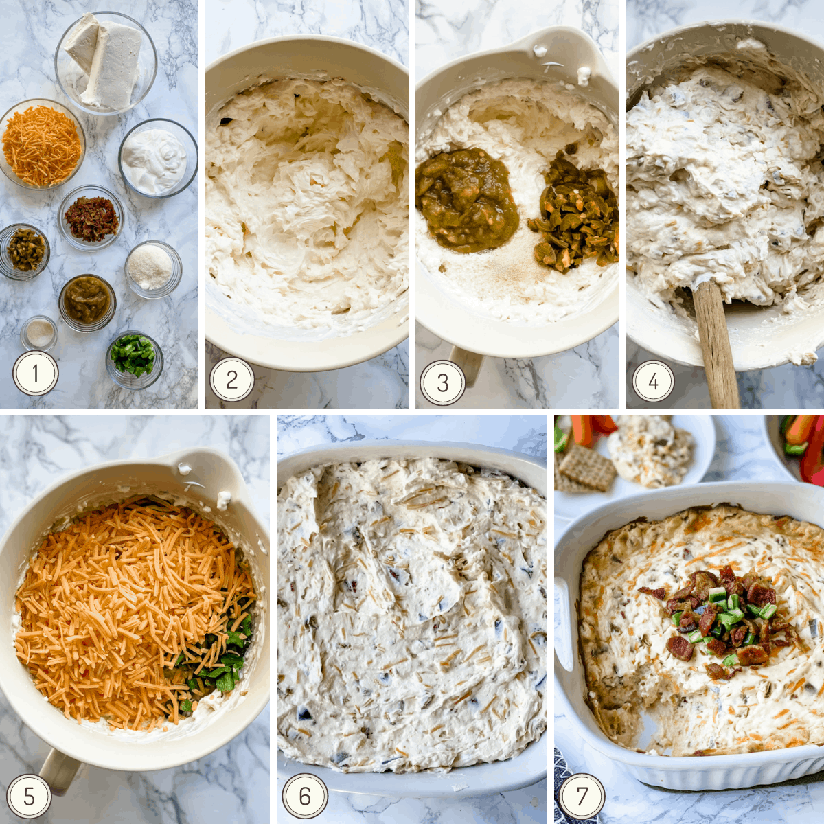 step by step instructions collage on how to make the jalapeno dip