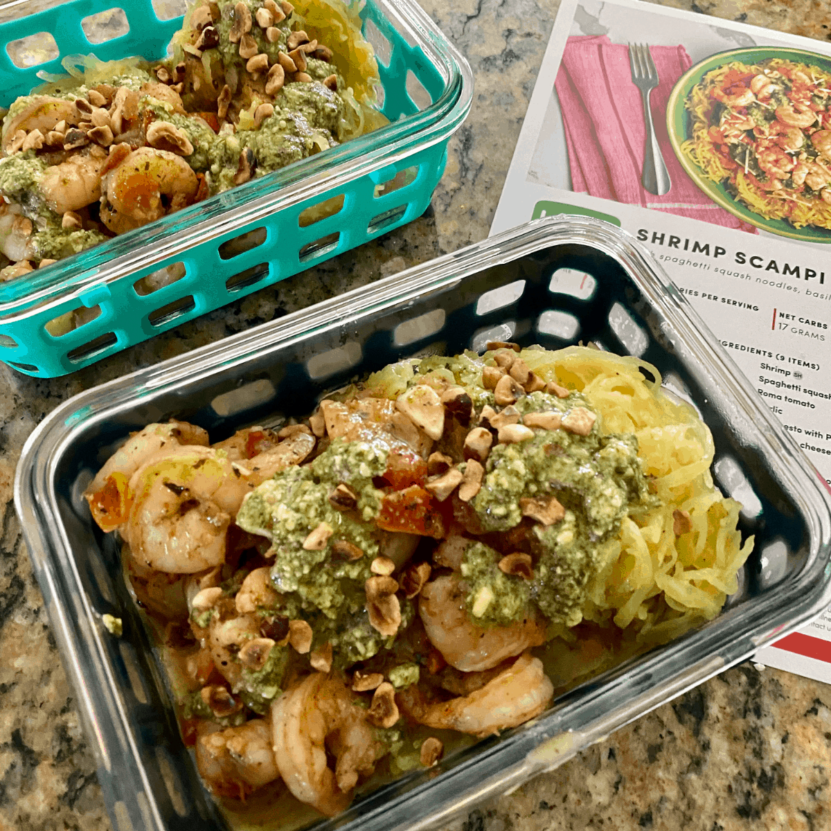 green chef shrimp scampi recipe in a meal prep container.