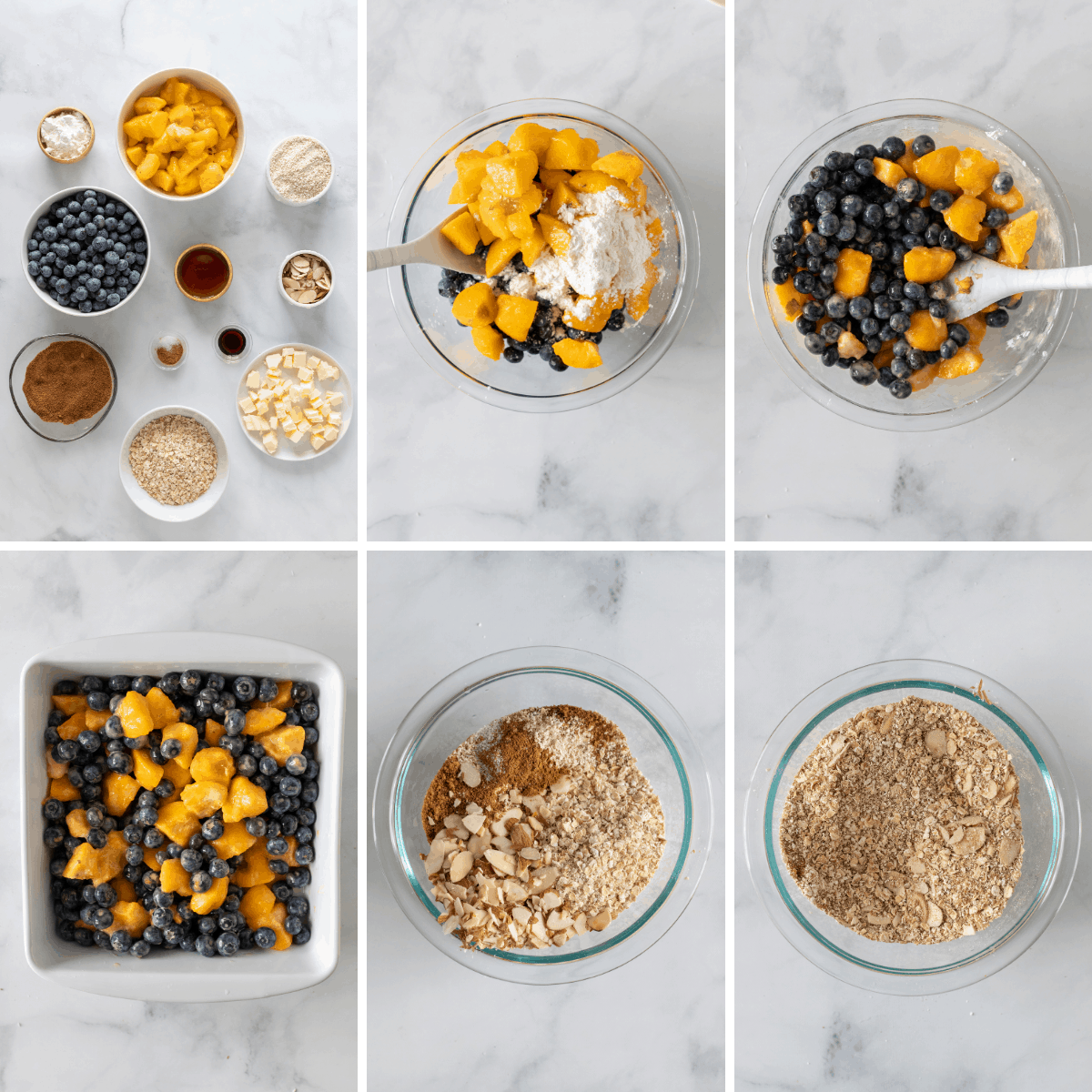 step by step collage showing how to make blueberry peach crisp