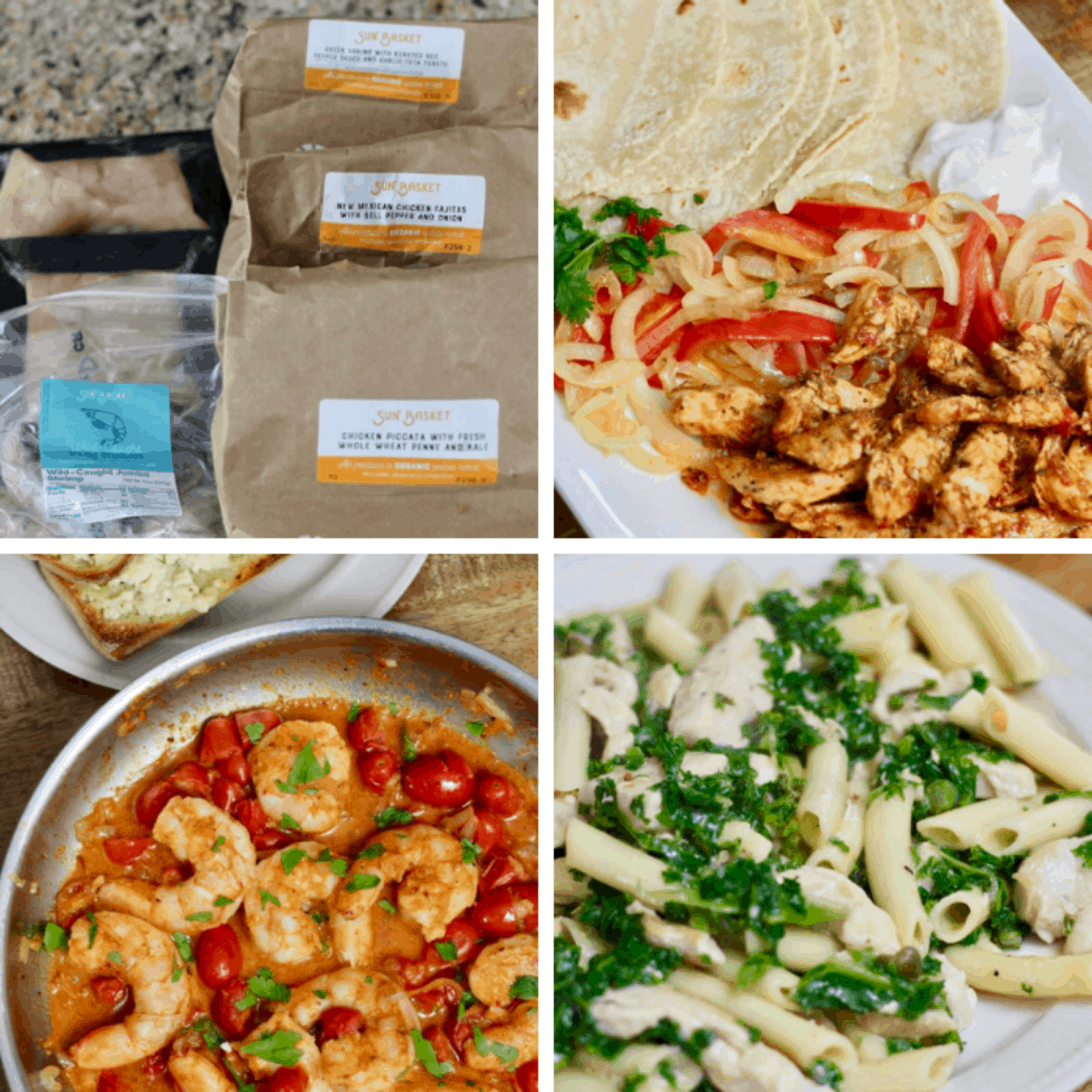 collage of the sun basket meals that I tried this month.