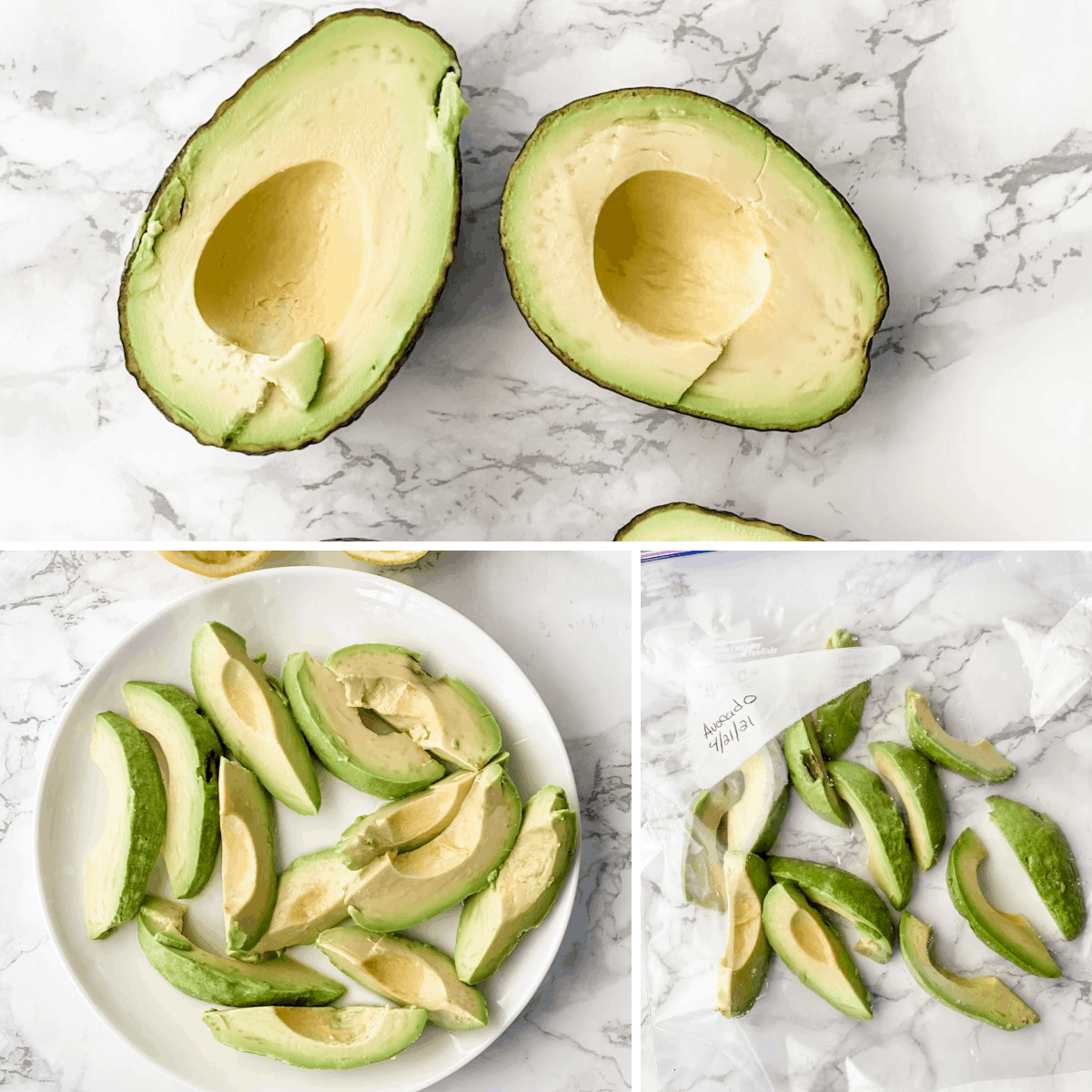step by step how to freeze avocado slices