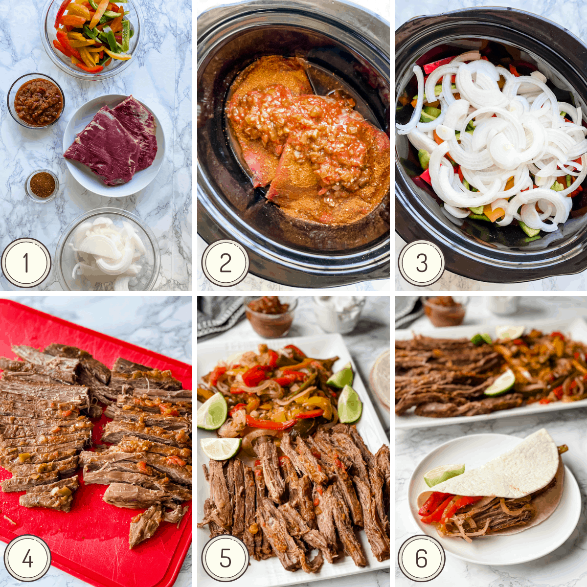 Step by step collage showing the instructions on how to make slow cooker steak fajitas
