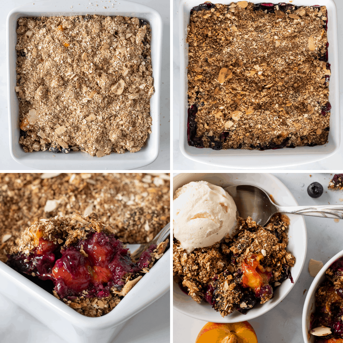 another step by step collage showing the last steps to baking a blueberry peach crisp.