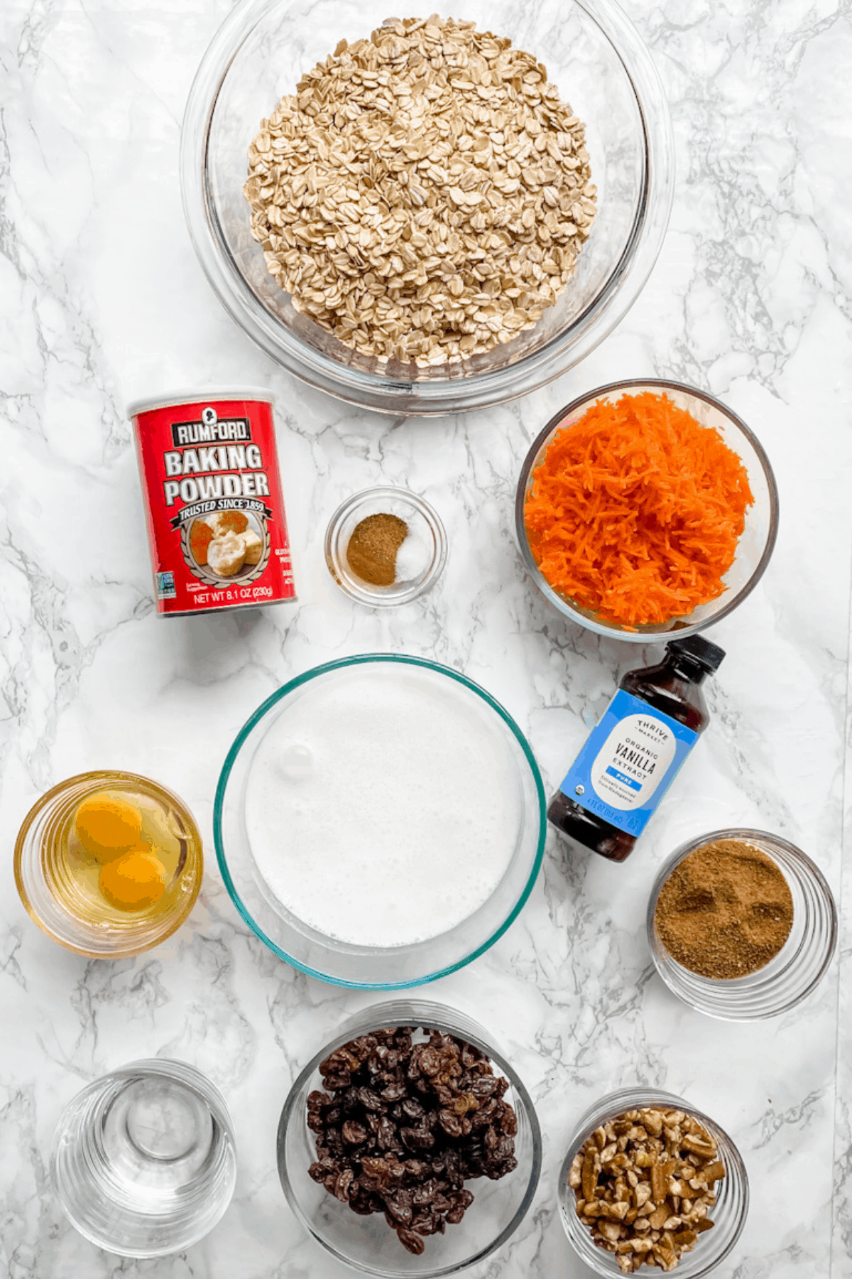 All of the ingredients to make carrot cake baked oatmeal