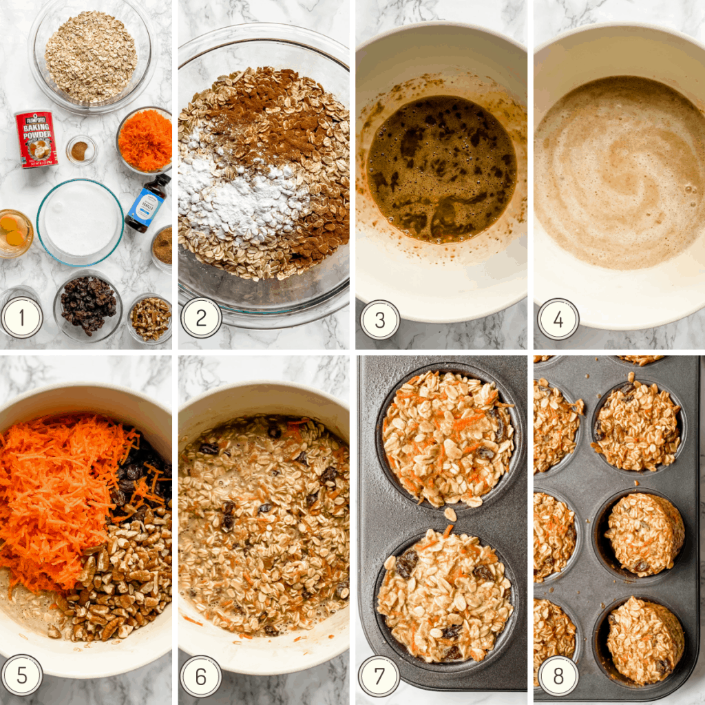 step by step collage showing how to make carrot cake baked oatmeal cups.
