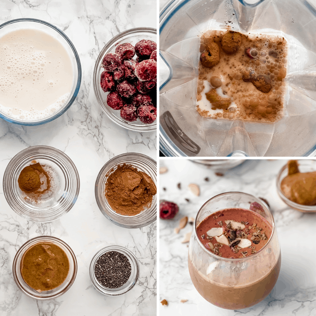 step by step collage to show you how to make a chocolate cherry smoothie