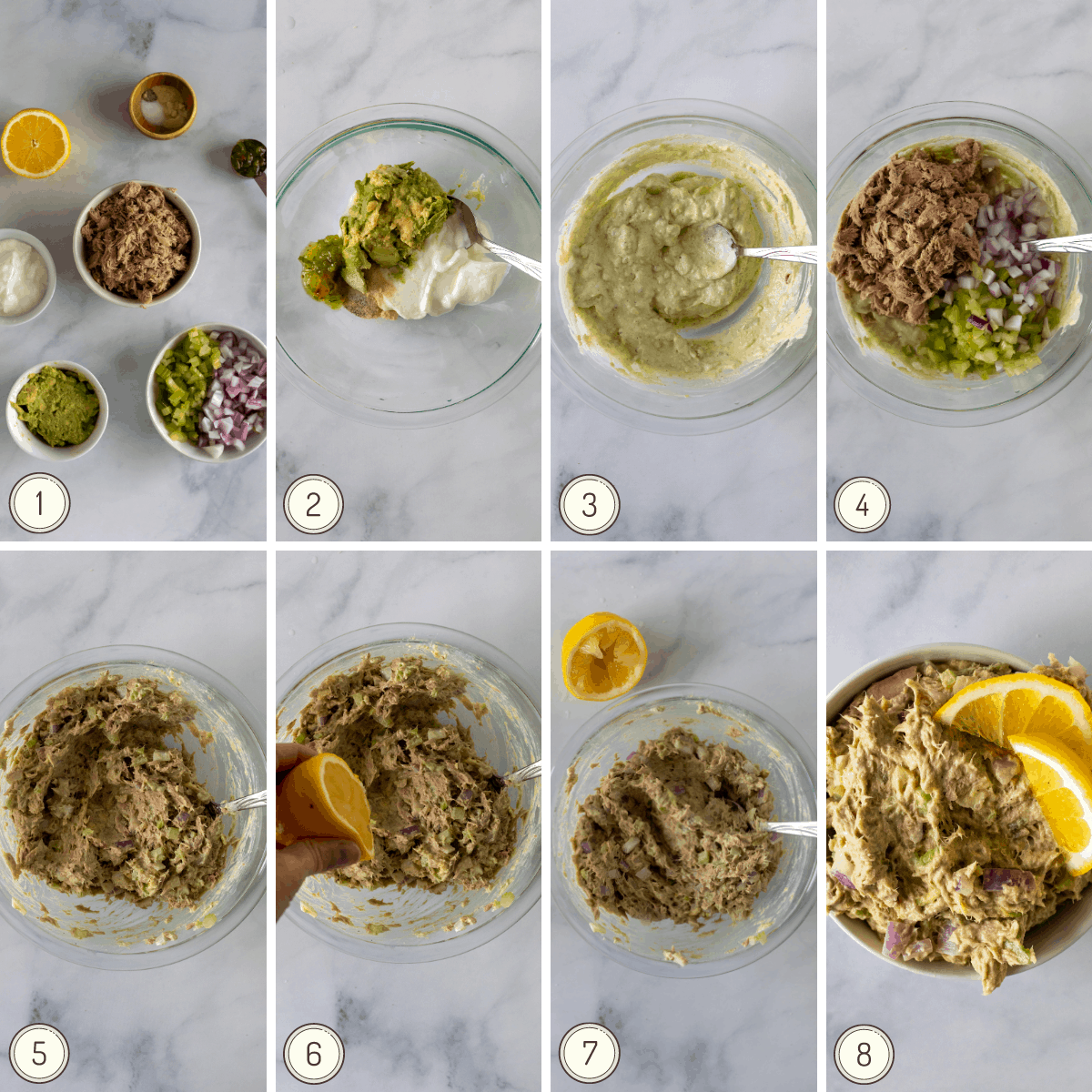 step by step collage showing how to make healthy tuna salad.