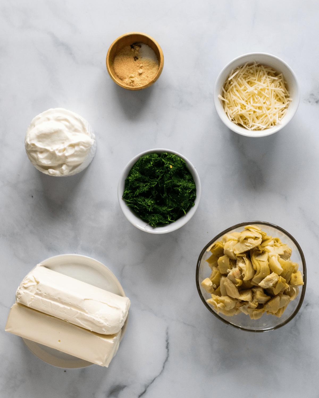 ingredients to make healthy spinach artichoke dip