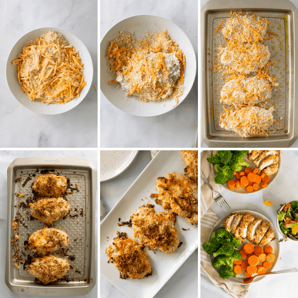the final steps in a collage for showing how to baked ranch chicken in the oven