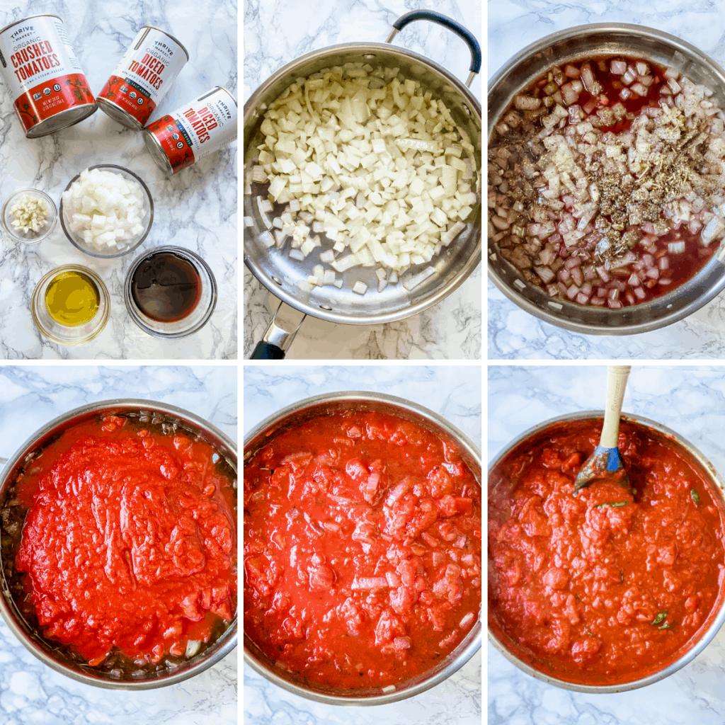 collage paso a paso que muestra cómo hacer salsa marinara