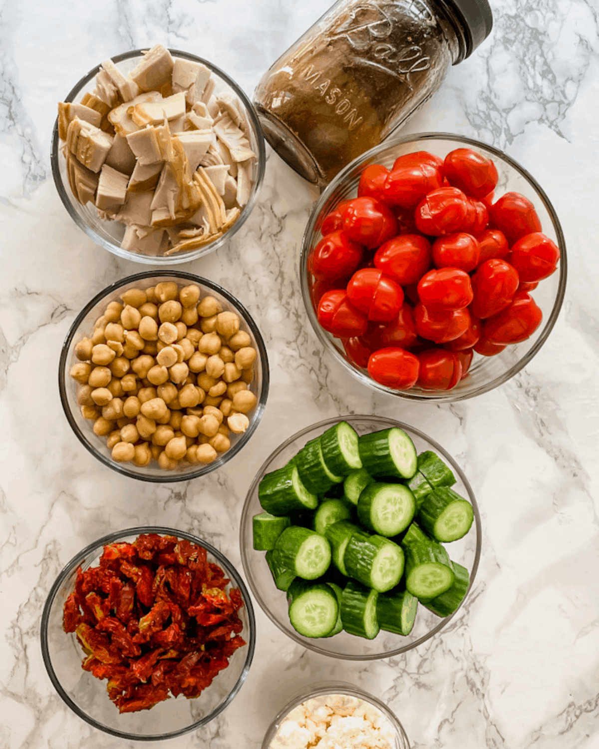 ingredients to make a California salad in a jar recipe