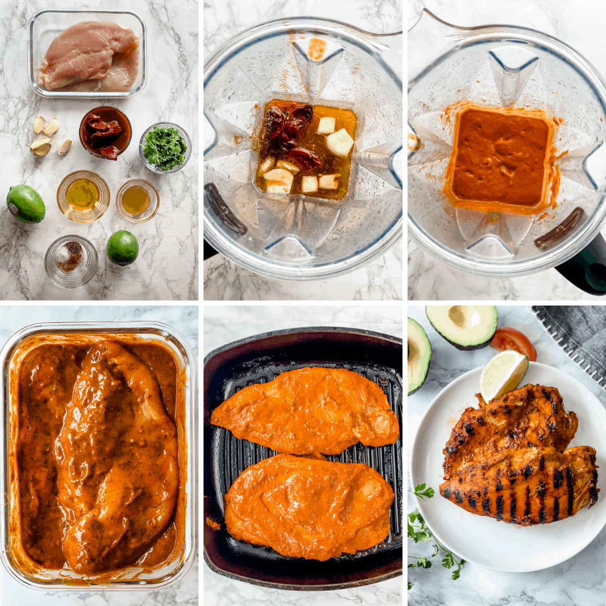 step by step collage on making chipotle chicken marinade.