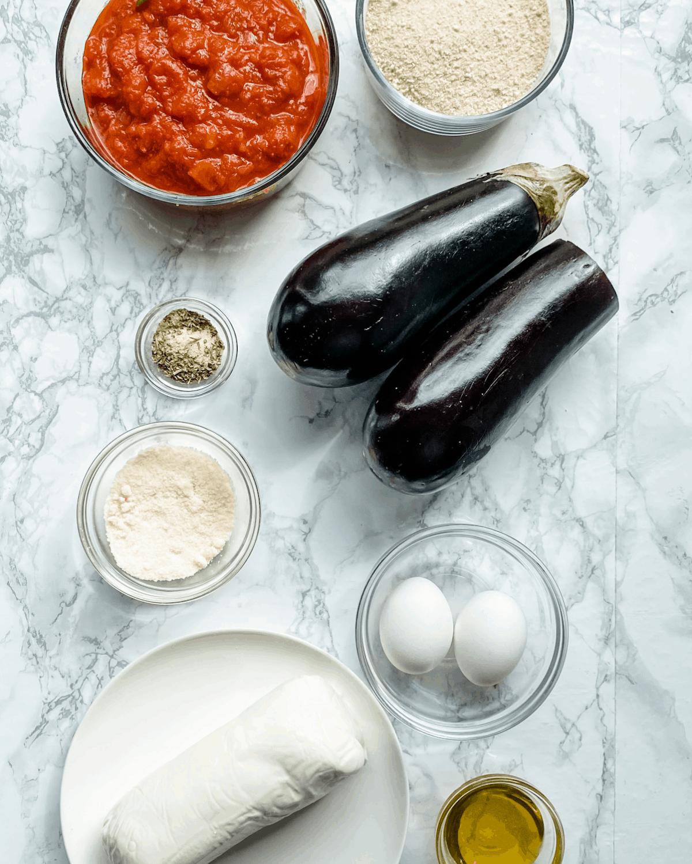 ingredients to make healthy Eggplant Parmesan
