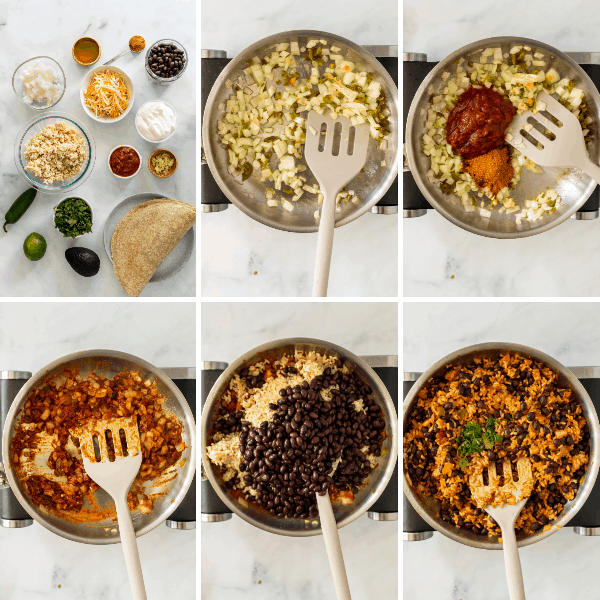 step by step collage showing you how to make the filling for vegetarian burritos.