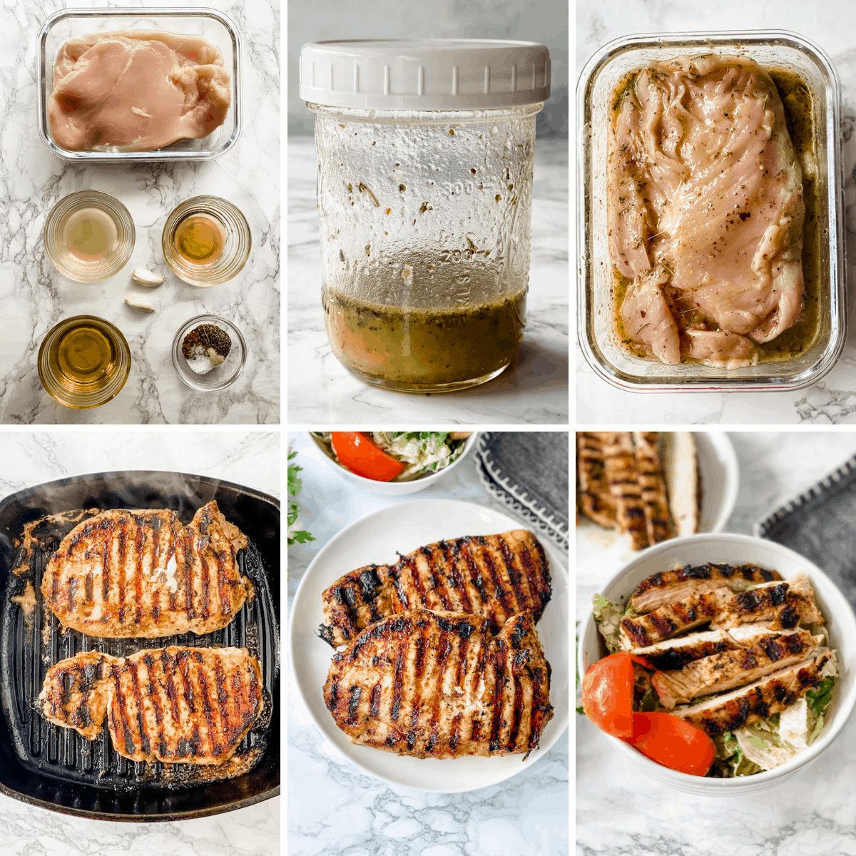 step by step collage showing you exactly how to make italian chicken marinade and how to grill the chicken breasts.