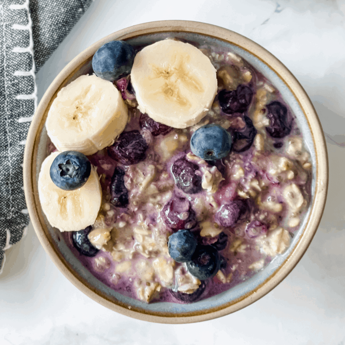 blueberry overnight oats in a bowl