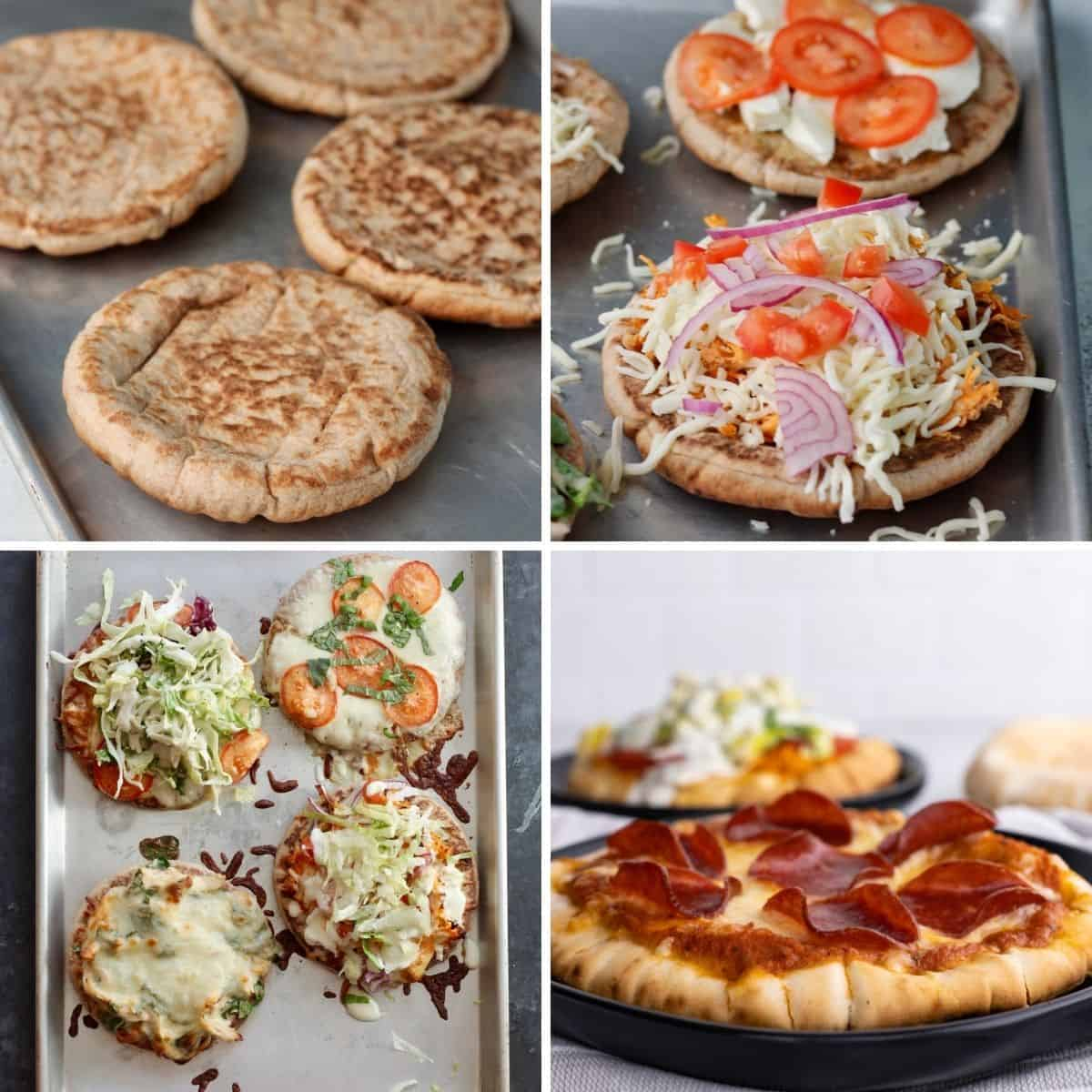 step by step collage showing you how to make pita pizza.