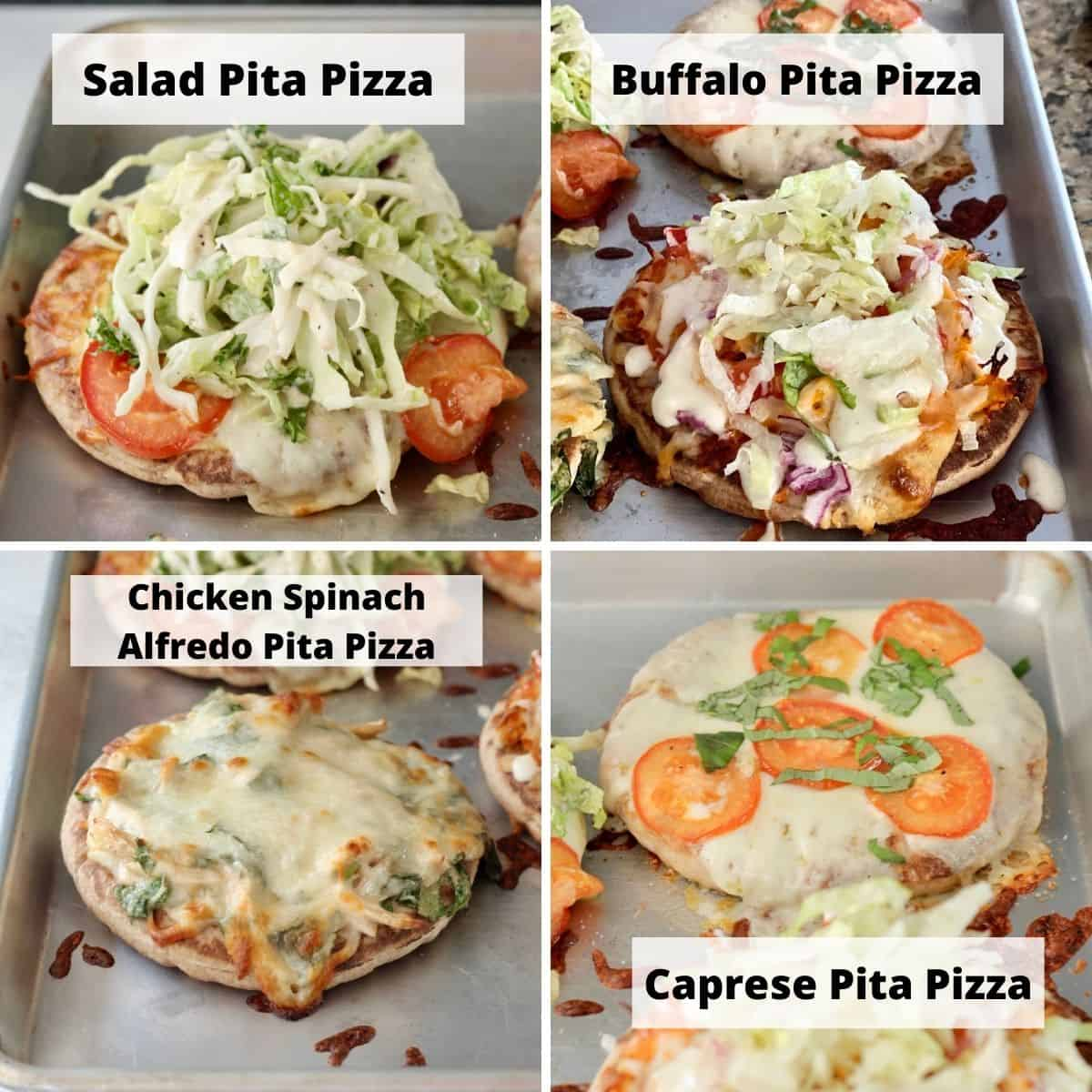 Other pita pizza variations to try. Picture collage of salad pita pizza, buffalo pita pizza, chicken spinach Alfredo pita pizza, and capers pita pizza.