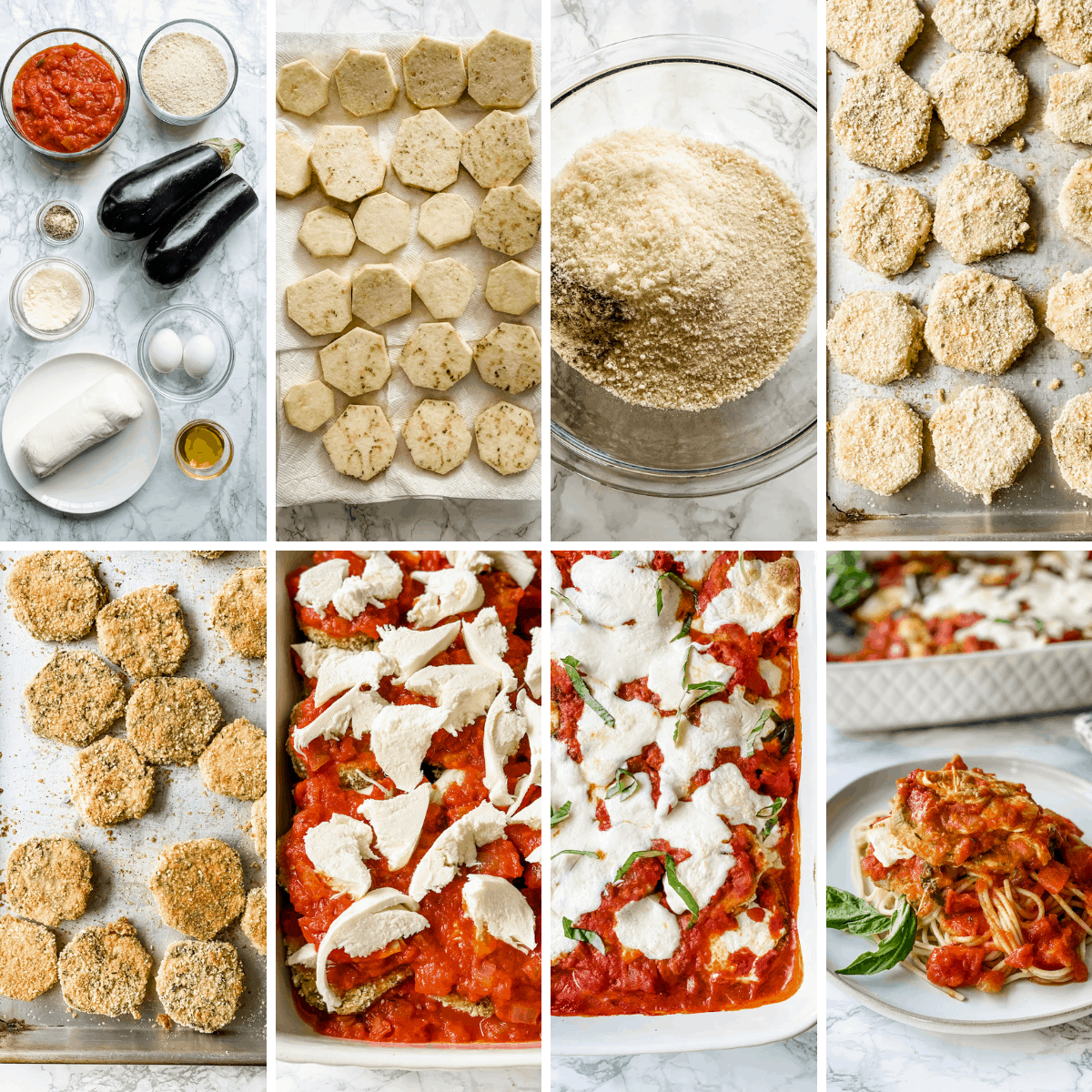 step by step collage showing how to make baked Eggplant Parmesan.