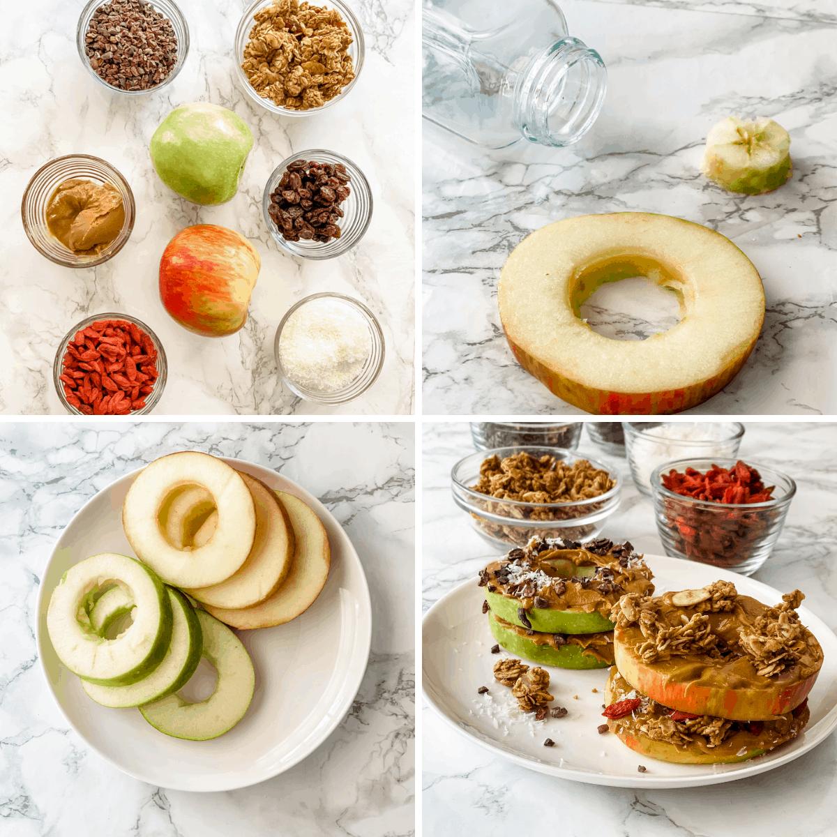 Collage paso a paso que muestra cómo hacer un sándwich de manzana saludable.