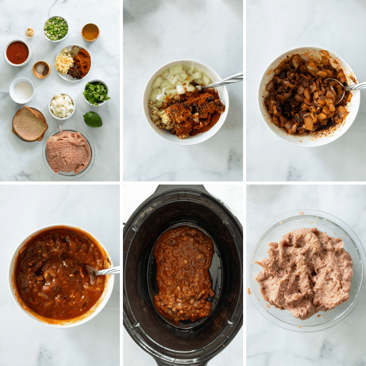 step by step collage showing how to make crockpot turkey tacos.